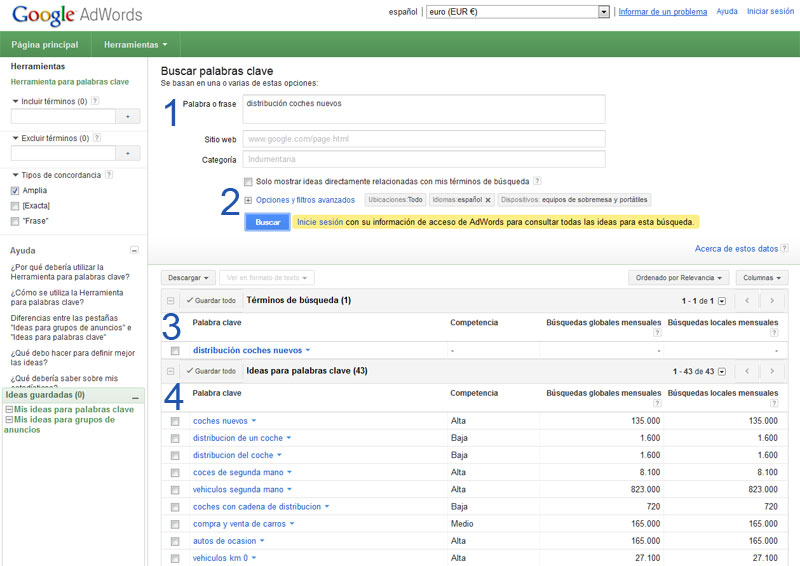 Pantalla keywords Google Adwords*